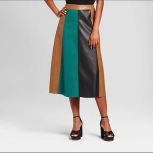 Who what wear faux leather color block skirt